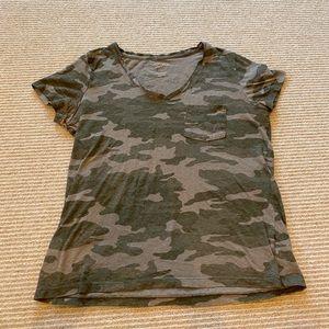 green camo print tee shirt